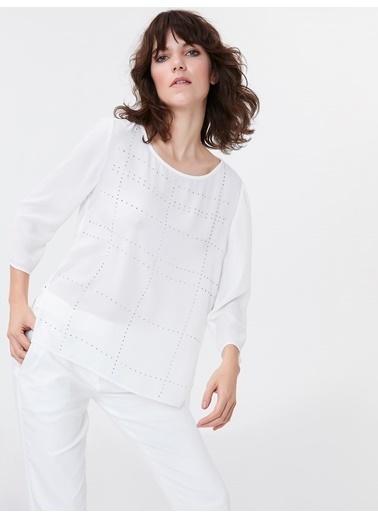 Ipekyol Taş Şeritli Baskılı Bluz Beyaz